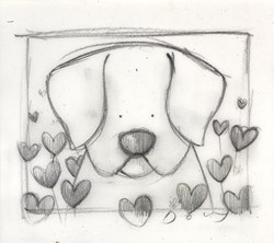 Spring Watch (study) by Doug Hyde - Original Drawing on Mounted Paper sized 6x6 inches. Available from Whitewall Galleries